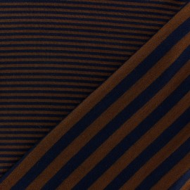 Tissu jersey de viscose reversible à rayures fond marron x 10cm