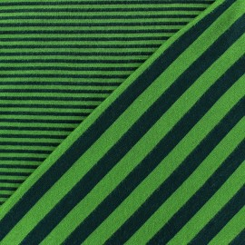 Tissu jersey de viscose reversible à rayures fond Vert vif x 10cm