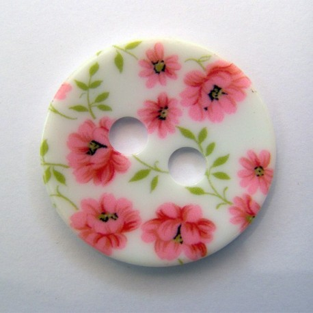 Polyester button, Cosmos - pink