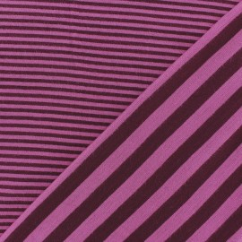 Tissu jersey de viscose reversible à rayures fond framboise x 10cm