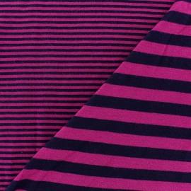 Tissu jersey de viscose reversible à rayures fond prune x 10cm