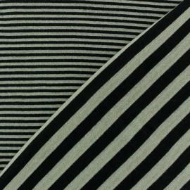 Tissu jersey de viscose reversible à rayures fond beige x 10cm