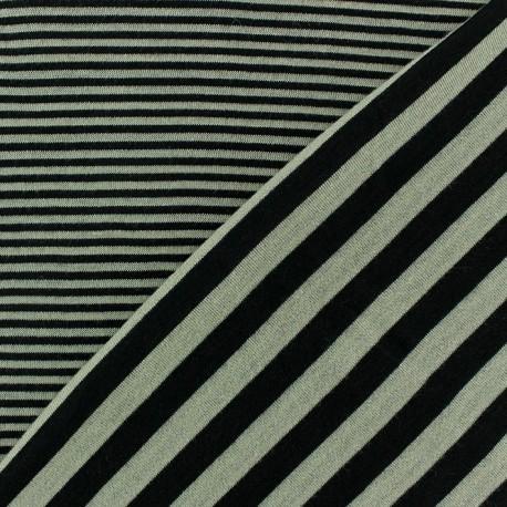 Striped Reversible Viscose Jersey Fabric - Beige x 10cm
