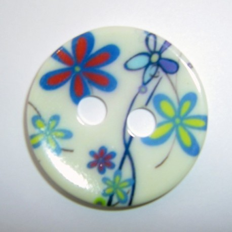 Polyester button, blue flowers - blue