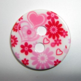 Bouton polyester Coeur rose