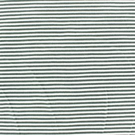 Tissu jersey à rayures 3 mm vert sauge fond blanc x 10cm