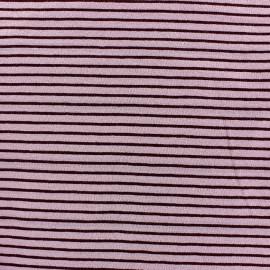 Tissu jersey à rayures 2 mm ton sur ton fond vieux rose x 10cm
