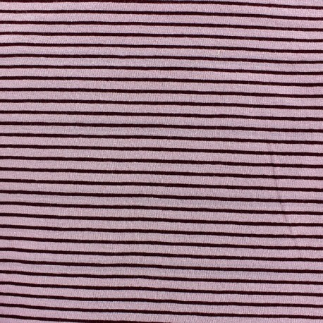 Jersey fabric with 2 mm tone on tone stripes - old rose x 10cm