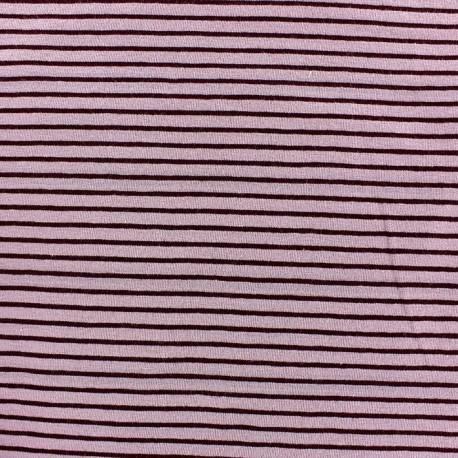 Tissu jersey à rayures 3 mm ton sur ton fond vieux rose x 10cm