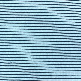 Tissu jersey à rayures 2 mm ton sur ton fond aqua x 10cm
