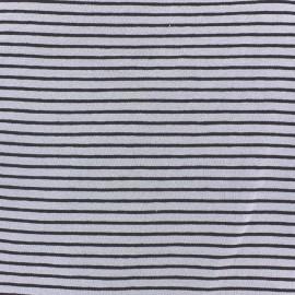 Tissu jersey à rayures 2 mm ton sur ton fond parme x 10cm