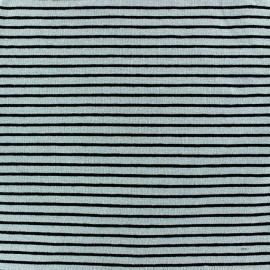 Tissu jersey à rayures 2 mm ton sur ton fond vert d'eau x 10cm