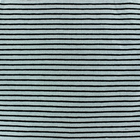 Jersey fabric with 2 mm tone on tone stripes - seagreen x 10cm