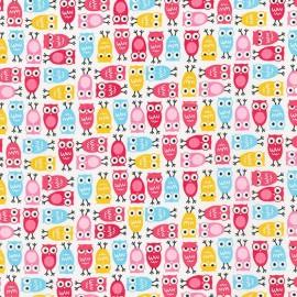 Tissu Urban Zoologie Minis Owl Pink x 10cm