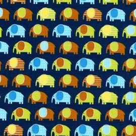 Urban Zoologie Fabric Minis Elephant - Navy x 10cm