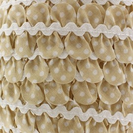 Fantasy serpentine with white polka dots - light beige
