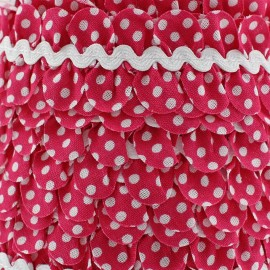 Fantasy serpentine with white polka dots - raspberry