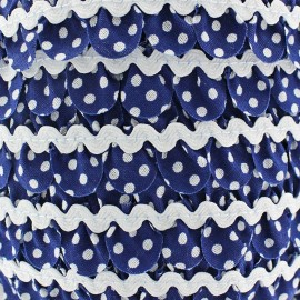 Fantasy serpentine with white polka dots - navy blue