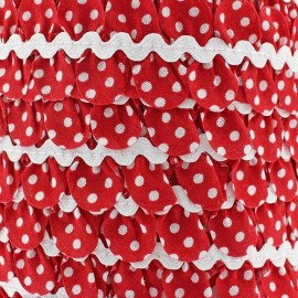 Fantasy serpentine with white polka dots - red