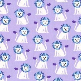 Tissu Coton Mini Lions Parme x 10cm