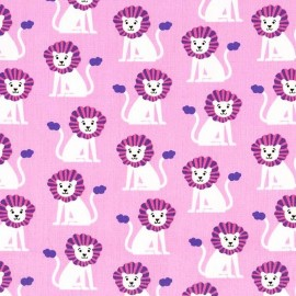Cotton Fabric Mini Lions Pink x 10cm