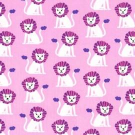 Tissu Coton Mini Lions Rose x 10cm