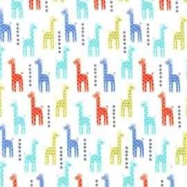Tissu Coton Mini Giraffes Bleu x 10cm