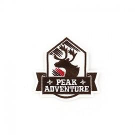 ♥ Peak Adventure deer Coat-of-arms iron-on applique - brown ♥
