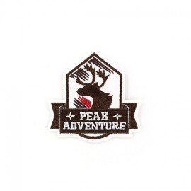 Peak Adventure deer Coat-of-arms iron-on applique - brown