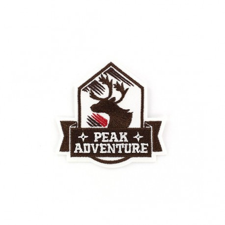 Peak Adventure deer Coat-of-arms iron-on applique - brown
