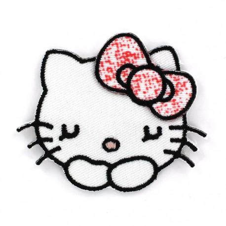 Hello Kitty Sleeping iron-on applique - white/Pink
