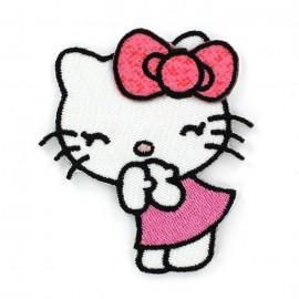 Hello Kitty Laughing iron-on applique - white/Pink