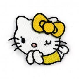 Hello Kitty Laughing iron-on applique - white/yellow