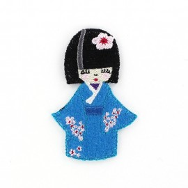 Kokeshi iron-on applique - blue