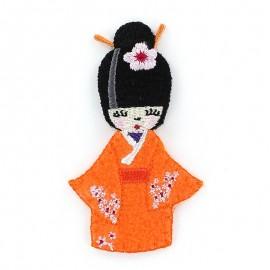 Kokeshi iron-on applique - orange
