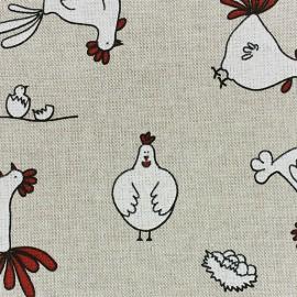 Tissu toile coton Poules x 10 cm