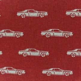 Tissu toile coton Voitures sur fond rouge x 10 cm