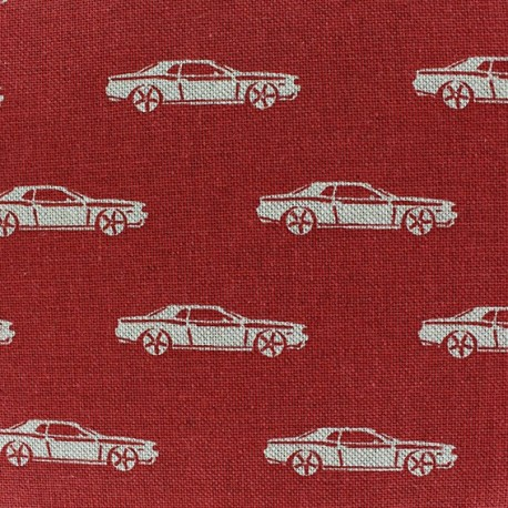Cotton Canvas Fabric - Cars on Red background x 10 cm