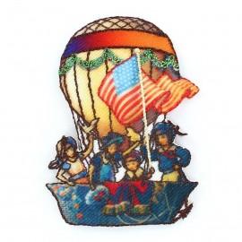 Hot-air ballon B iron-on applique - multicolored