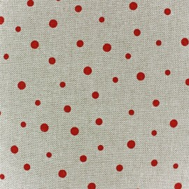 Cotton Canvas Fabric - Pois Rouge x 10 cm