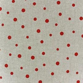 Tissu toile coton Pois rouges x 10 cm