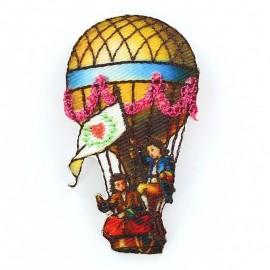 Hot-air ballon C iron-on applique - multicolored