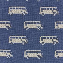 Tissu toile coton Voitures sur fond bleu x 10 cm
