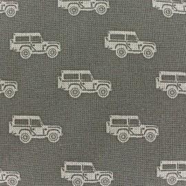Tissu toile coton Voitures sur fond gris x 10 cm
