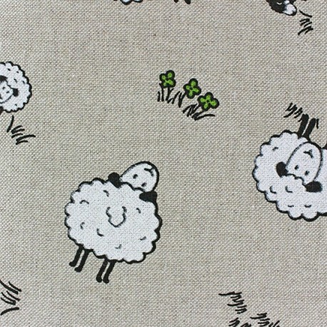 Cotton Canvas Fabric - Moutons x 10 cm