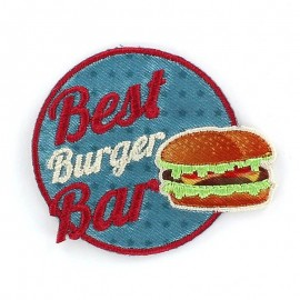 Burger Fastfood Car badge iron-on applique - multicolored