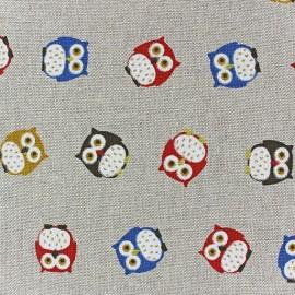 Tissu toile coton Hiboux multi x 10 cm