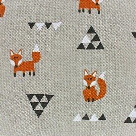 Tissu toile coton Renards remix x 10 cm