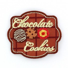 Cookies Fastfood Car badge iron-on applique - brown