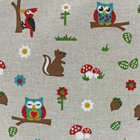 Cotton Canvas Fabric - Forêt x 10 cm